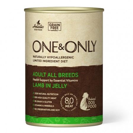 Беззерновые монобелковые консервы ONE&ONLY для взрослых собак всех пород с ягненком в желе 400 гр