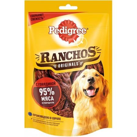 Лакомство Pedigree Ranchos мясные ломтики с говядиной, для взрослых собак, 58 г