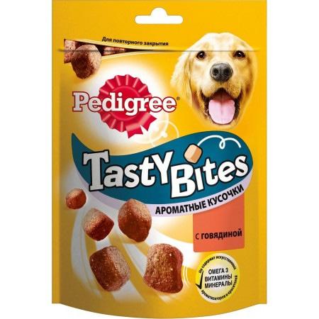 Лакомство Pedigree Tasty Bites, ароматные кусочки с говядиной, для взрослых собак, 130 г