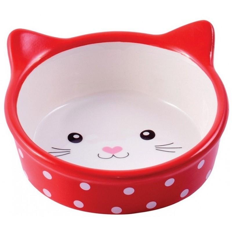 Купить КерамикАрт миска керамическая для кошек 250 мл Мордочка кошки красная в горошек КерамикАрт в Калиниграде с доставкой (фото)